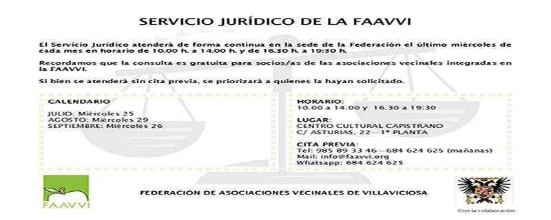 RECORDAMOS QUE EL MIÉRCOLES 29/08 EL SERVICIO JURÍDICO DESPACHARÁ CONSULTAS